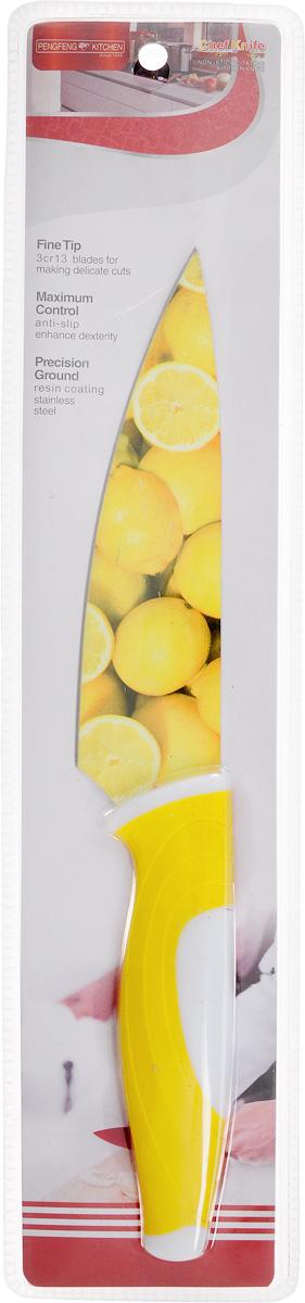 Нож поварской Empire of dishes, цвет: желтый, белый, длина лезвия 14 смIM99-4719/2Нож поварской Empire of dishes, изготовленный из высококачественной нержавеющей стали, идеально подходит для измельчения и нарезки ломтиками продуктов. Нож оснащен удобной эргономичной рукояткой, выполненной из высококачественного пластика. Она не скользит в руках и делает резку удобной и безопасной. Яркий и нетривиальный дизайн ножа будет радовать его обладателя каждый раз, когда возникнут хлопоты на кухне. Общая длина ножа: 27,5 см.