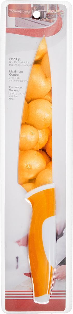 Нож поварской Empire of dishes, цвет: оранжевый, белый, длина лезвия 17 смIM99-4720/2Нож поварской Empire of dishes, изготовленный из высококачественной нержавеющей стали, идеально подходит для измельчения и нарезки ломтиками продуктов. Нож оснащен удобной эргономичной рукояткой, выполненной из высококачественного пластика. Она не скользит в руках и делает резку удобной и безопасной. Яркий и нетривиальный дизайн ножа будет радовать его обладателя каждый раз, когда возникнут хлопоты на кухне. Общая длина ножа: 30,5 см.