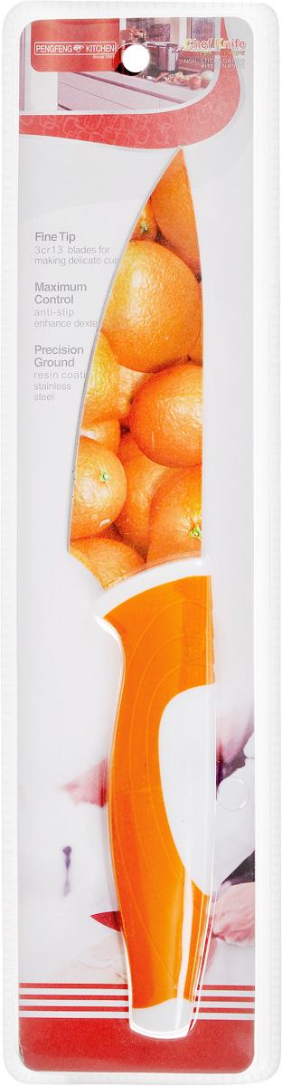 Нож поварской Empire of dishes, цвет: оранжевый, белый, длина лезвия 12 смIM99-4718/3Нож поварской Empire of dishes, изготовленный из высококачественной нержавеющей стали, идеально подходит для измельчения и нарезки ломтиками продуктов. Нож оснащен удобной эргономичной рукояткой, выполненной из высококачественного пластика. Она не скользит в руках и делает резку удобной и безопасной. Яркий и нетривиальный дизайн ножа будет радовать его обладателя каждый раз, когда возникнут хлопоты на кухне. Общая длина ножа: 25 см.