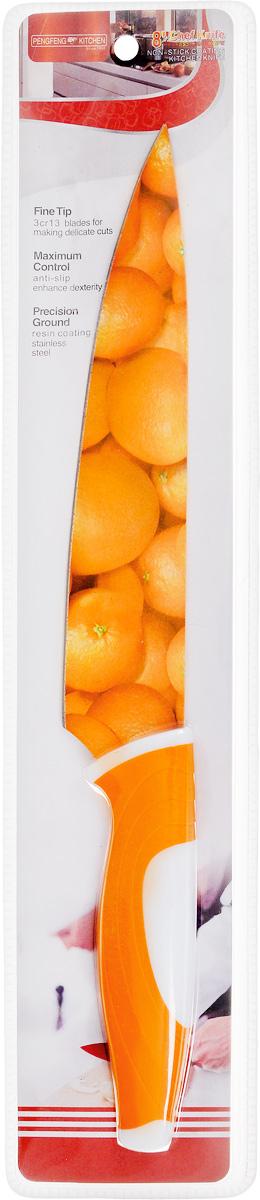 Нож поварской Empire of dishes, цвет: оранжевый, белый, длина лезвия 19 смIM99-4721/2Нож поварской Empire of dishes, изготовленный из высококачественной нержавеющей стали, идеально подходит для измельчения и нарезки ломтиками продуктов. Нож оснащен удобной эргономичной рукояткой, выполненной из высококачественного пластика. Она не скользит в руках и делает резку удобной и безопасной. Яркий и нетривиальный дизайн ножа будет радовать его обладателя каждый раз, когда возникнут хлопоты на кухне. Общая длина ножа: 32,5 см.