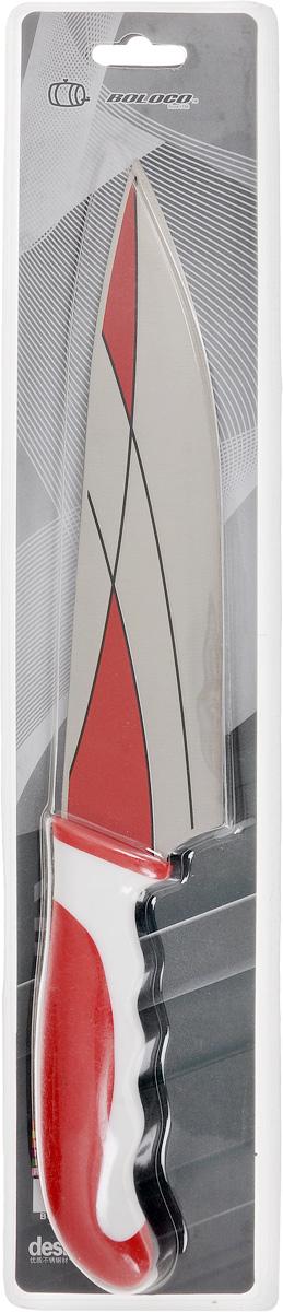 Нож поварской Boloco, цвет: красный, белый, длина лезвия 20,5 смIM99-4708/1Поварской Boloco, изготовленный из высококачественной нержавеющей стали, идеально подходит для нарезки мяса, рыбы, овощей и фруктов. Нож оснащен удобной эргономичной рукояткой, выполненной из высококачественного пластика. Она не скользит в руках и делает резку удобной и безопасной. Яркий и нетривиальный дизайн ножа будет радовать его обладателя каждый раз, когда возникнут хлопоты на кухне. Общая длина ножа: 33 см.