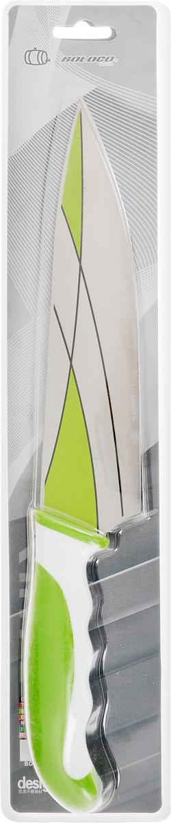 Нож поварской Boloco, цвет: зеленый, белый, длина лезвия 20,5 смIM99-4708/2Поварской Boloco, изготовленный из высококачественной нержавеющей стали, идеально подходит для нарезки мяса, рыбы, овощей и фруктов. Нож оснащен удобной эргономичной рукояткой, выполненной из высококачественного пластика. Она не скользит в руках и делает резку удобной и безопасной. Яркий и нетривиальный дизайн ножа будет радовать его обладателя каждый раз, когда возникнут хлопоты на кухне. Общая длина ножа: 33 см.