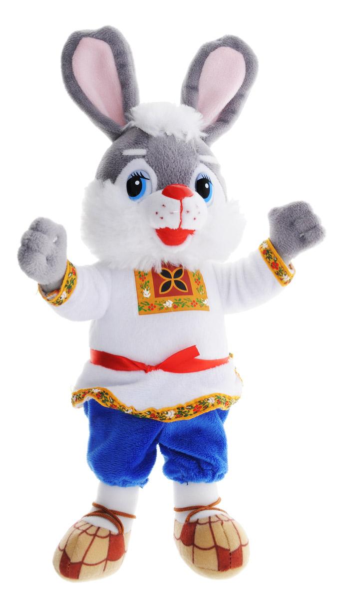 Мульти-Пульти Мягкая озвученная игрушка Зайка 25 смV27877/25Мягкая озвученная игрушка Мульти-Пульти Зайка станет незабываемым подарком каждому малышу. Игрушка невероятно мягкая, оформлена в виде зайца, одетого в русско-народный костюм. При нажатии на живот игрушка произносит 6 песенок и потешек. Забавные, добрые мягкие игрушки радуют детей с самого рождения. Ведь уже в первые месяцы жизни ребенок проявляет интерес к плюшевым зверятам и необычным персонажам. Сначала они помогают ему познавать окружающий мир через тактильные ощущения, знакомят его с животным миром нашей планеты, формируют цветовосприятие и способствуют концентрации внимания. Рекомендуется докупить 3 батарейки типа АА (товар комплектуется демонстрационными).