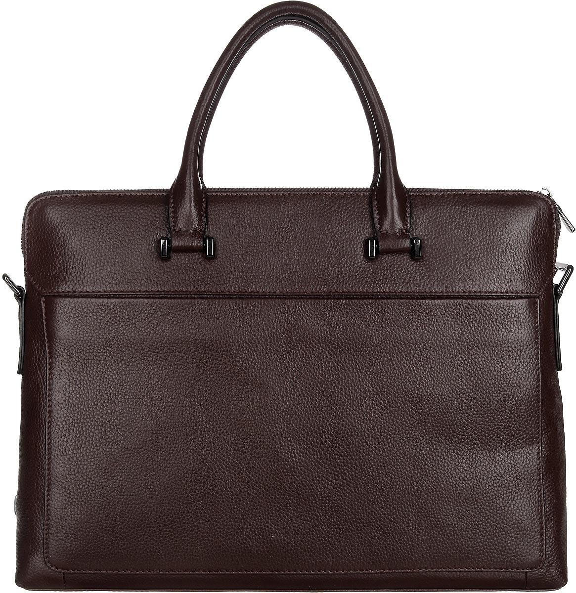Сумка мужская Calipso, цвет: темно-коричневый. 001-020986-172001-020986-172Стильная мужская сумка Calipso изготовлена из натуральной кожи c фактурным тиснением. Изделие имеет одно отделение, разделено пополам карманом-средником на застежке-молнии. Закрывается сумка на металлическую застежку-молнию. Внутри находятся два прорезных открытых кармана и прорезной карман на застежке-молнии. Снаружи, на передней и задней стенках расположены накладные карманы на магнитных кнопках. Изделие оснащено двумя удобными ручками. В комплект входит съемный текстильный наплечный ремень, который регулируется по длине. Стильная сумка поможет вам подчеркнуть чувство стиля и завершить выбранный образ.