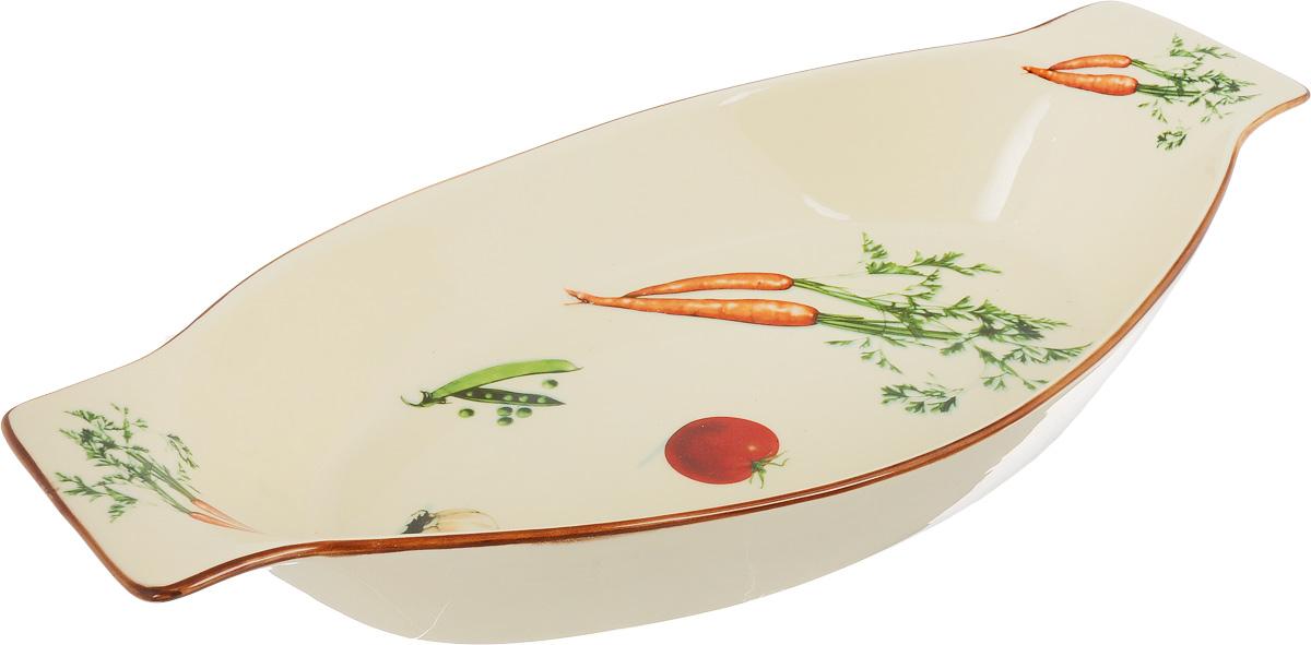 Форма для запекания Patricia Овощи, овальная, 39 х 24 смIM04-1005Ни для кого не секрет, что у настоящей хозяйки красивая посуда не только та, в которой она подает свои блюда, но и та, в которой она готовит. Овальная форма для запекания Patricia Овощи выполнена из жаропрочной керамики и оснащена ручками. Посуда из керамики славится своей прочностью и функциональностью. Приятный глазу дизайн и отменное качество формы будут долго радовать вас, а угощения, приготовленные в этом блюде - ваших гостей. Не рекомендуется использовать в микроволновой печи и посудомоечной машине. Внутренний размер формы: 39 х 24 см. Размер формы (с учетом ручек): 50,5 х 24 см. Высота формы: 8 см.