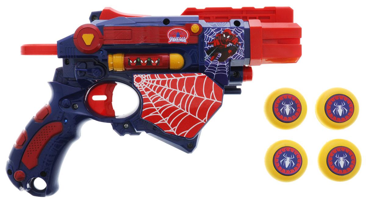 Играем вместе Бластер Великий Человек-паук с дискамиB1164188-RЛегкий и яркий бластер Играем вместе Великий Человек-паук - это модное и удобное оружие, оно отлично подходит для детских игр. В комплекте также находятся 4 диска, дальность полета которых составляет 3 метра. Бластер, выполненный из пластика синего и красного цветов, очень прост в использовании: загрузите внутрь диски, возьмите оружие в руки и поразите свою цель. С бластером Играем вместе Великий Человек-паук ваш ребенок всегда будет во всеоружии! Человек-паук - супергерой, получивший суперсилу, увеличенную ловкость, паучье чутье, а также способность держаться на отвесных поверхностях и выпускать паутину из рук. Теперь он готов наказать злодеев, которые покушаются на покой его родного города!