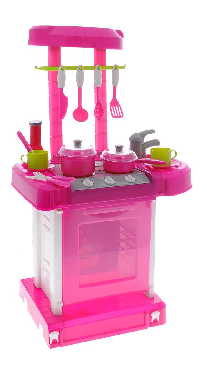 Играем вместе Игровой набор Кухня принцессы Софии008-58-R (12)Игровой набор Играем вместе Кухня принцессы Софии - это мечта настоящей юной хозяйки. Любая девочка мечтает о таком подарке! Набор содержит плиту с духовкой, кастрюлю, посуду, полочку, кран с мойкой и прочие аксессуары. При включении плиты раздается звук: 1 конфорка - звук включения и кипения; 2 конфорка - звук включения плиты; 3 конфорка - звук включения и жарки. При включении духовки раздается звук таймера. Кухню можно сложить в компактный чемодан, что очень удобно для транспортировки и хранения. Во время веселого времяпровождения девочка приобретает навыки, необходимые во взрослой жизни. Рекомендуется докупить 3 батарейки напряжением 1,5V типа АА (товар комплектуется демонстрационными).