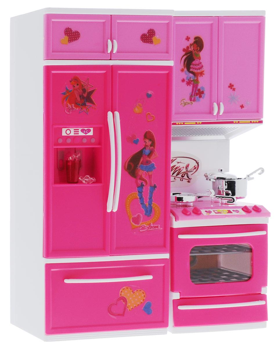 Играем вместе Игровой набор Кухня WinxB798134-R1Игровой набор Играем вместе Кухня Winx станет настоящим подарком для вашей малышки. Все детали набора выполнены из качественных и безопасных материалов яркого розового цвета. В комплект входят 7 предметов, которые можно расставить в разных вариантах. Кухня оборудована духовкой, дверь которой открывается, вытяжкой и холодильником. Духовой шкаф оснащен световыми и звуковыми функциями. Ваша дочка будет в восторге от такого подарка! Рекомендуется докупить 2 батарейки напряжением 1,5V типа АА (товар комплектуется демонстрационными).