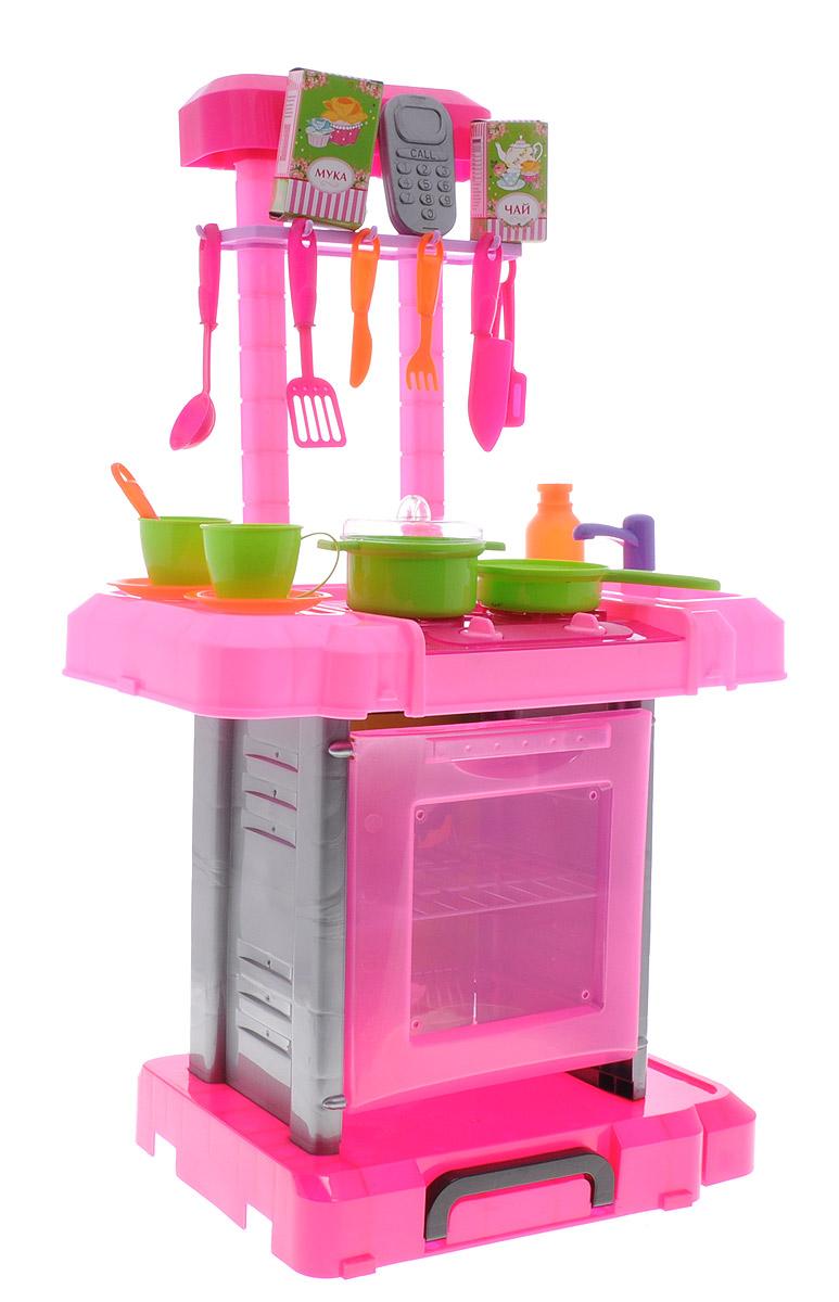 Играем вместе Игровой набор Кухня Принцессы661-60-RЗамечательный игровой набор Играем вместе Кухня Принцессы позволит ребенку приготовить обед для своих любимых кукол. В комплекте присутствуют различные столовые приборы, а также кастрюли и сковородки. В детской кухне также имеется духовка, дверцу которой можно открыть. При повороте ручек для включения конфорок можно активировать эффекты со светом на плите, а также звуковые - в духовке. Если юная хозяйка не захочет расставаться со своей новой кухней, то игрушку можно собрать и перенести в удобной упаковке. Также в набор входит много различных аксессуаров, которые сделают сюжетную игру увлекательной и веселой. Все предметы изготовлены из качественных и безопасных материалов. Необходимо купить 2 батарейки типа АА (не входят в комплект).