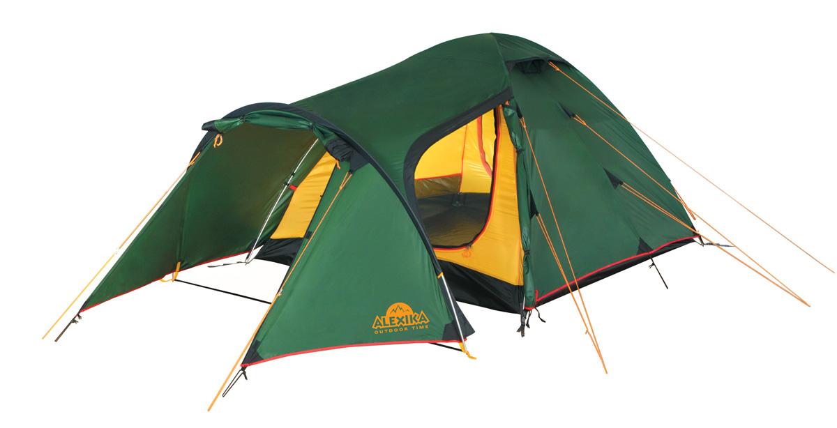 Палатка Alexika Tower 4 Green9126.4101Трекинговая палатка купольного типа проста в установке и компактна в сложенном виде. Отличается современным дизайном и функциональностью. Особенно удобна для путешественников, предпочитающих перемещаться на велосипеде и с объемным багажом. Tower 4 - это надежная туристическая палатка с небольшим весом, изготовленная из непромокаемого плотного материала, способного надежно защитить от осадков и ветра. Пригодна для временного проживания и хранения велосипедов, а также большого количества вещей. Большой тамбур можно использовать как столовую. Металлический каркас с высококачественными дугами и проклеенными швами делают палатку пригодной как для коротких походов, так и для длительного активного отдыха. Палатка оснащена системой быстрой фиксации натяжения тента. Данная палатка отлично подходит для семейного отдыха, вмещает до 4 человек. Комфортабельное пространство для спальни, удобный расширенный тамбур, три входа делают палатку удобной для расположения в ней нескольких человек,...