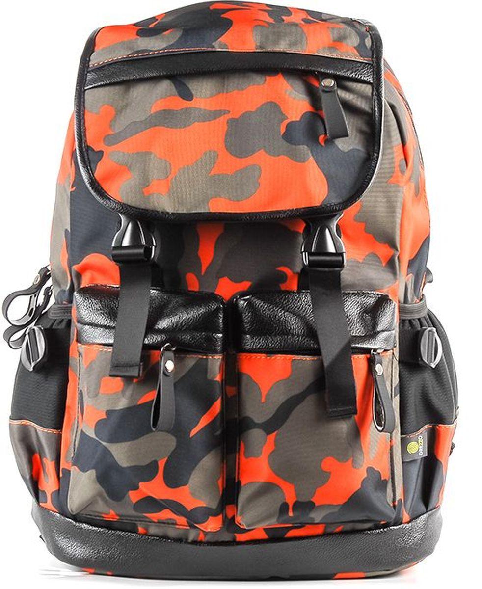 Рюкзак молодежный Grezzo, цвет: оранжевый. 1130115330_241130115330_24Молодежный рюкзак имеет одно основное отделение на двойной молнии, закрывается на крышку с застежками, в котором находится отсек для ноутбука или планшета. Уплотненная перегородка, расположенная ближе к спинке рюкзака, будет легко сохранять гаджеты от повреждений. Спинка рюкзака уплотнена. Мягкие лямки помогут сохранить плечи от чрезмерного давления, регулируются по длине. На внешней лицевой стороне рюкзака расположены два кармана, которые закрываются на молнию, на крышке рюкзака кармашек для мелочей. По бокам на внешней части молодежного рюкзака расположены два кармана без застежек. Дно рюкзака уплотнено. Принт милитари.