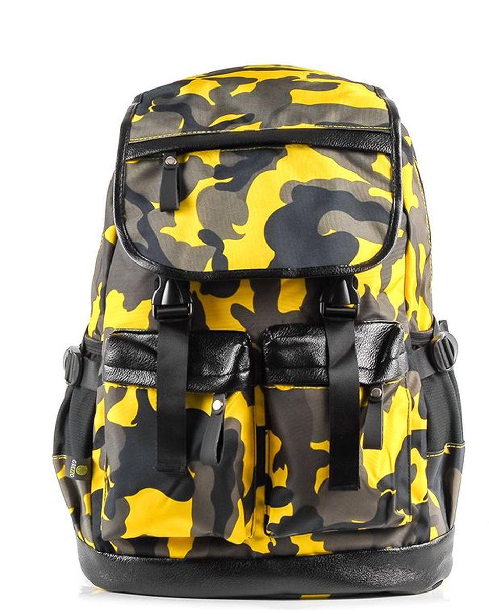 Рюкзак молодежный Grezzo, цвет: желтый. 1130115330_301130115330_30Молодежный рюкзак имеет одно основное отделение на двойной молнии, закрывается на крышку с застежками, в котором находится отсек для ноутбука или планшета. Уплотненная перегородка, расположенная ближе к спинке рюкзака, будет легко сохранять гаджеты от повреждений. Спинка рюкзака уплотнена. Мягкие лямки помогут сохранить плечи от чрезмерного давления, регулируются по длине. На внешней лицевой стороне рюкзака расположены два кармана, которые закрываются на молнию, на крышке рюкзака кармашек для мелочей. По бокам на внешней части молодежного рюкзака расположены два кармана без застежек. Дно рюкзака уплотнено. Принт милитари.
