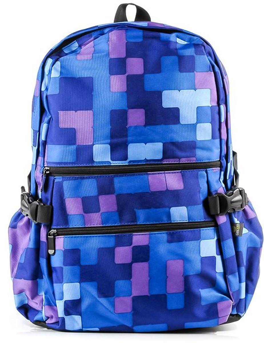 Рюкзак молодежный Grezzo, цвет: синий. 1130115332_511130115332_51Молодежный рюкзак имеет одно основное отделение на двойной молнии, в котором находится отсек для ноутбука или планшета. Уплотненная перегородка, расположенная ближе к спинке рюкзака, будет легко сохранять гаджеты от повреждений. Для большей надежности можно закрепить ноутбук или планшет специальным ремешком, крепящимся на липучку. Внутри основного отделения также имеется нашитый карман на «молнии», в котором удобно держать мелкие вещи. Спинка рюкзака уплотнена. Мягкие лямки помогут сохранить плечи от чрезмерного давления, регулируются по длине. На внешней лицевой стороне рюкзака расположены два кармана, который закрываются на молнию. По бокам на внешней части молодежного рюкзака расположены два кармана без застежек. Дно рюкзака уплотнено. Цветной принт.