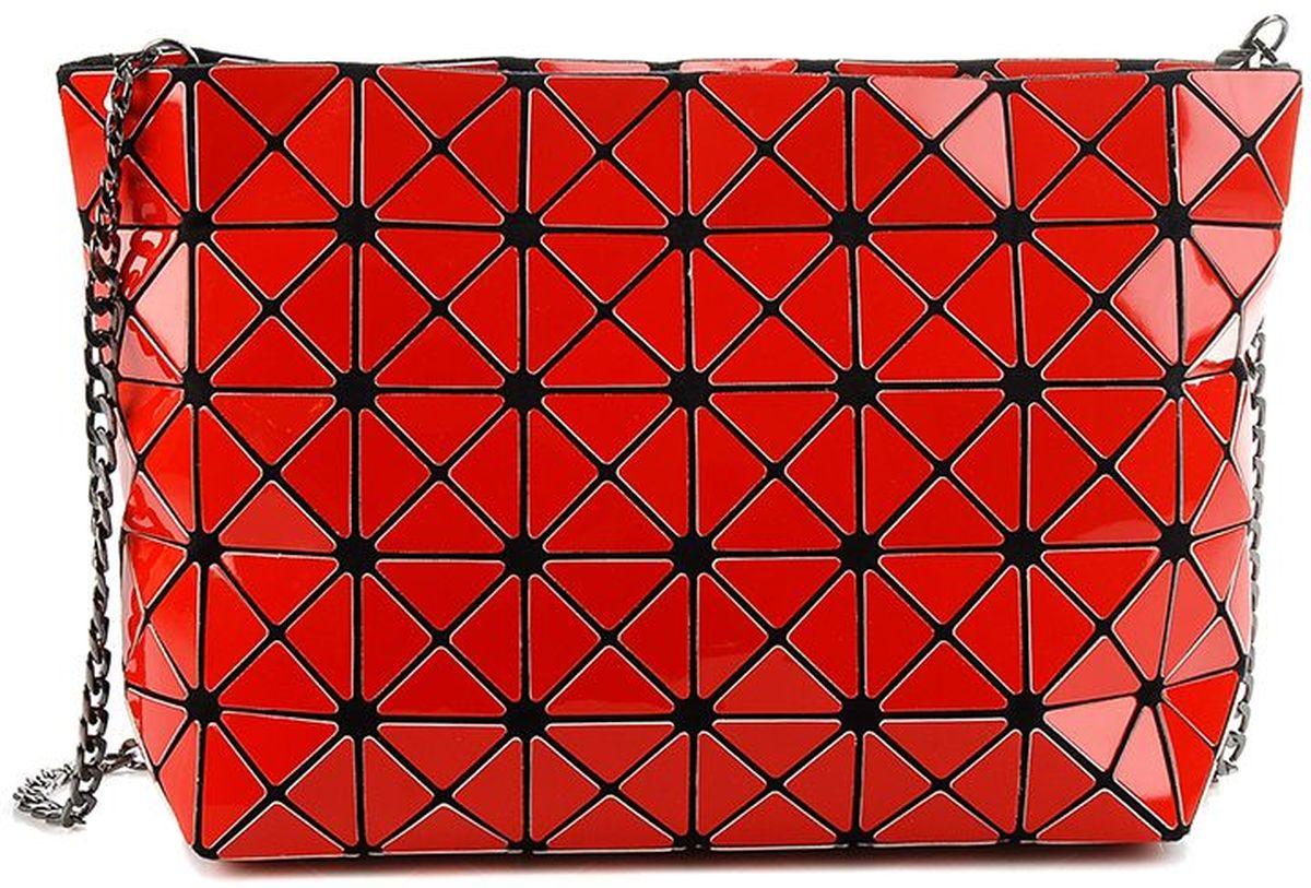 Сумка женская Sabellino, цвет: красный. 0111016460_370111016460_37Вместительная сумка трапециевидной формы, на длинном металлическом ремешке - цепочке, закрывается на молнию с металлическим бегунком, тканевый подклад. Ремешок можно отстегивать, это приносит больше функциональности данному изделию. Длина ремешка 110 см.