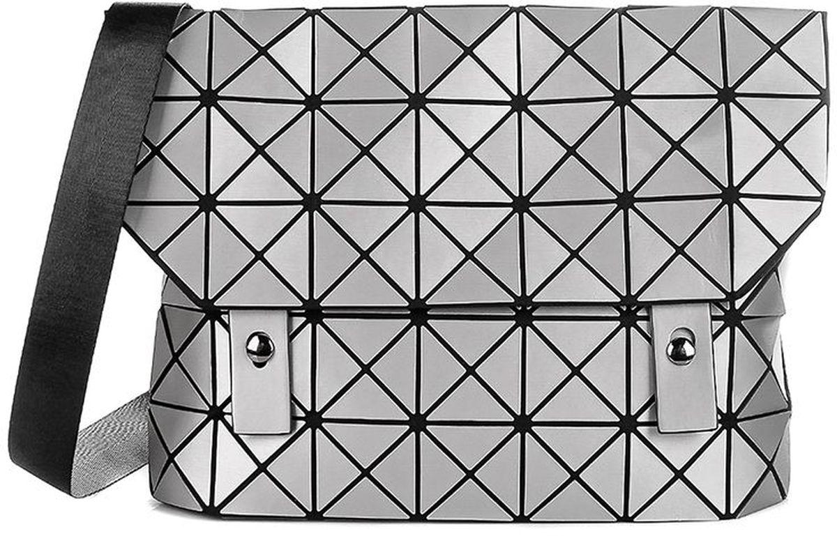 Сумка женская Sabellino, цвет: серебро. 0111016463_570111016463_57Удобная и многофункциональная сумка на широком тканевом ремне регулируемой длины, закрывается на крышку с 2 застежками. Внутри тканевый подклад, 2 кармана. На тыльной стороне горизонтальный карман на молнии, внутри дополнительный небольшой карман. Длина ремешка 118 см.