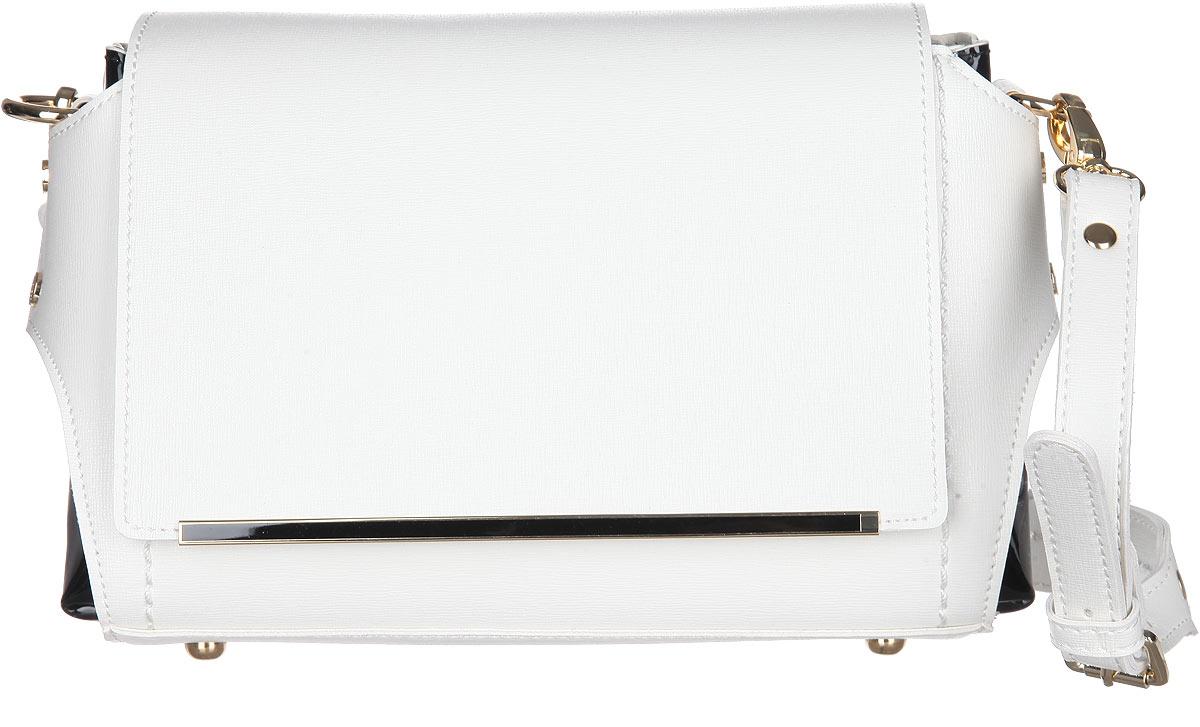 Сумка женская Calipso, цвет: белый, черный. 477-361286-231477-361286-231Элегантная женская сумка Calipso выполнена из искусственной кожи с фактурным тиснением и дополнена вставками из искусственной лакированной кожи. Изделие имеет одно отделение, закрывающееся на застежку-молнию и дополнительно на клапан, оформленный декоративным металлическим элементом. Внутри находятся два нашивных кармана. Модель оснащена съемной регулируемой ручкой. В комплект входит съемный наплечный регулируемый ремень. Основание изделия защищено от повреждений металлическими ножками. Роскошная сумка внесет элегантные нотки в ваш образ и подчеркнет ваше отменное чувство стиля.
