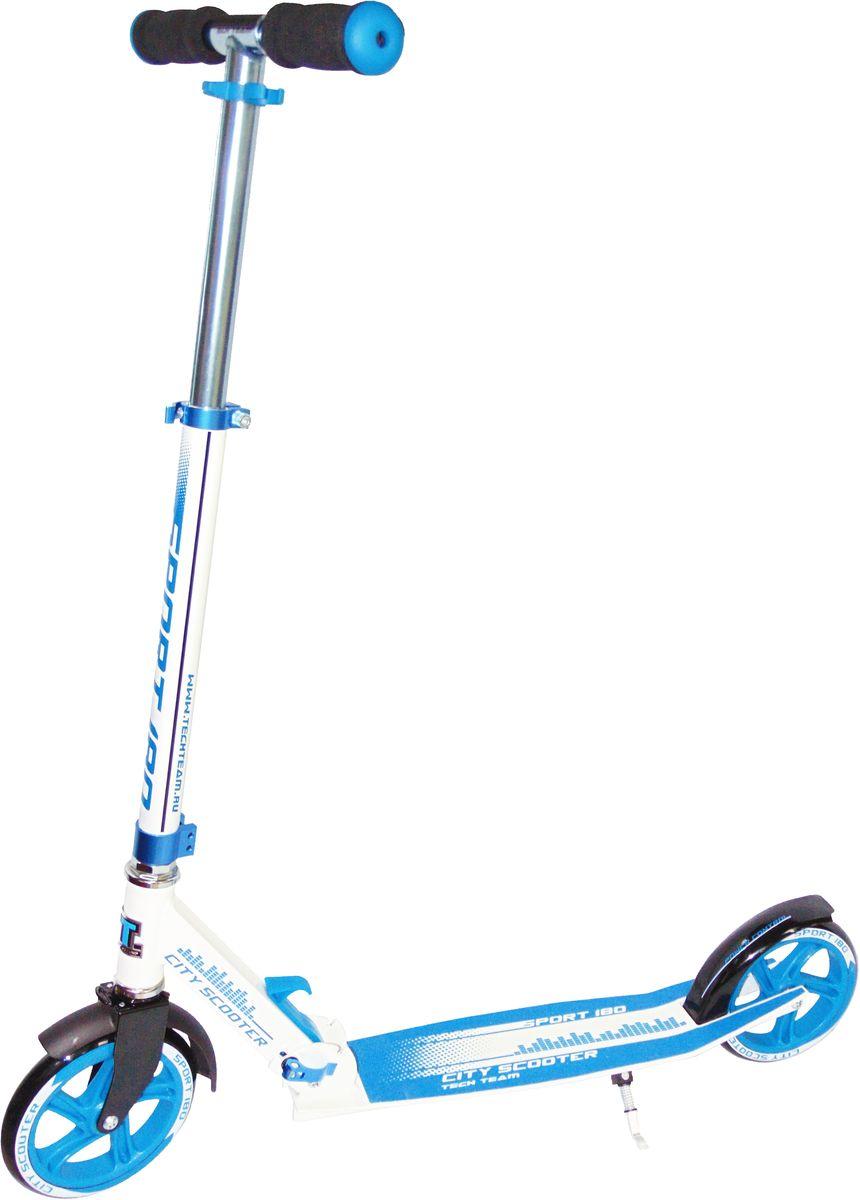 Самокат Teach Team Sport, цвет: голубойS-TT-180S-BСамокат детский Рама 100% ALU Колёса PU 180х30 мм Подшипник- Abec 7 Carbon Возраст 9+