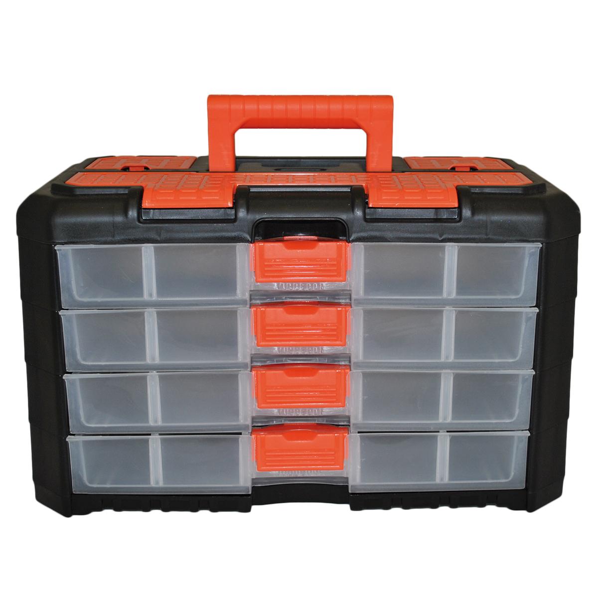 Органайзер для мелочей Blocker Grand, цвет: черный, оранжевый, 400 х 219 х 247 ммBR3737ЧРОРУниверсальный сет для мелочей с ручкой для переноски. Секции фиксируются замками, которые надежно защищают от случайного открывания. Внутри секции разделены съемными перегородками, что позволяет организовать внутреннее пространство в зависимости от потребностей и делает сет пригодным для хранения не только мелочей, но и предметов средней величины. Встроенные секции на крышке подходят для хранения скобяных изделий.