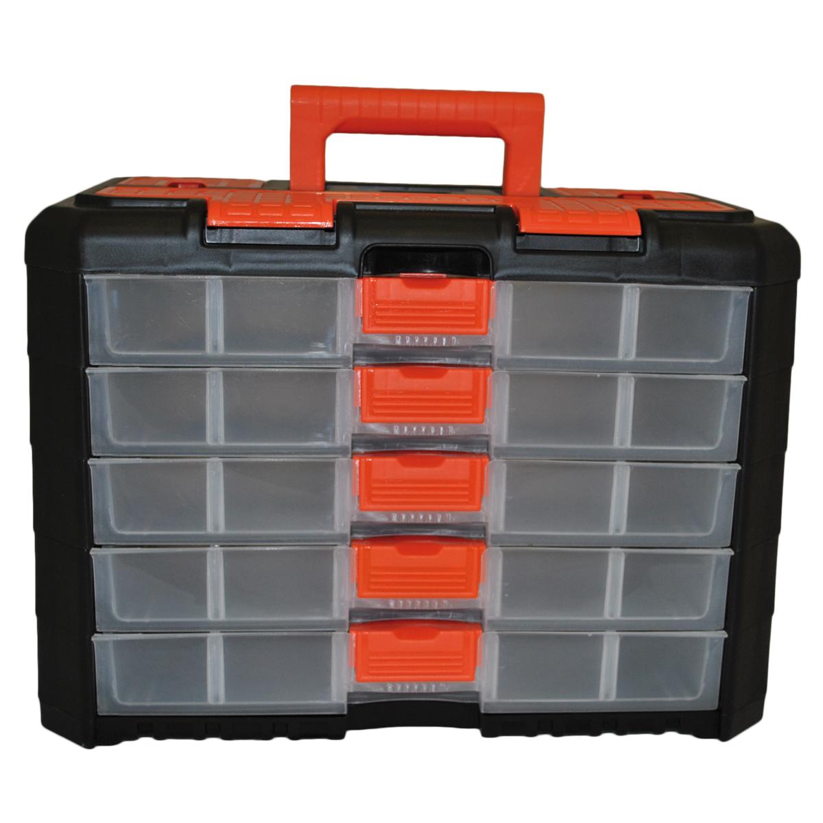 Органайзер для мелочей Blocker Grand, цвет: черный, оранжевый, 400 х 219 х 287 ммBR3738ЧРОРУниверсальный сет для мелочей с ручкой для переноски. Секции фиксируются замками, которые надежно защищают от случайного открывания. Внутри секции разделены съемными перегородками, что позволяет организовать внутреннее пространство в зависимости от потребностей и делает сет пригодным для хранения не только мелочей, но и предметов средней величины. Встроенные секции на крышке подходят для хранения скобяных изделий.