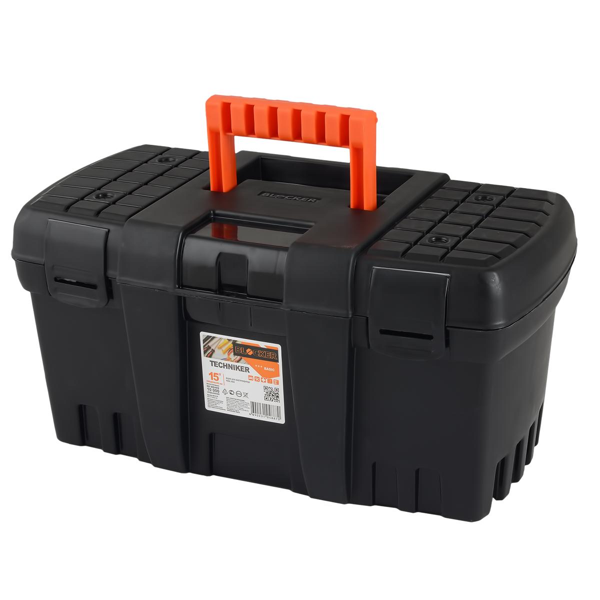 Ящик для инструментов Blocker Techniker, цвет: черный, 460 х 250 х 233 ммBR3748ЧРОтлично подходит для организации хранения и транспортировки инструментов и принадлежностей к ним в автомобиле, на даче или дома. Петли и замки выполнены единым элементом с корпусом. Не имеет внутреннего лотка. Каждый элемент имеет ресурс 10 000 изгибов, что позволяет интенсивно эксплуатировать продукт несколько лет.