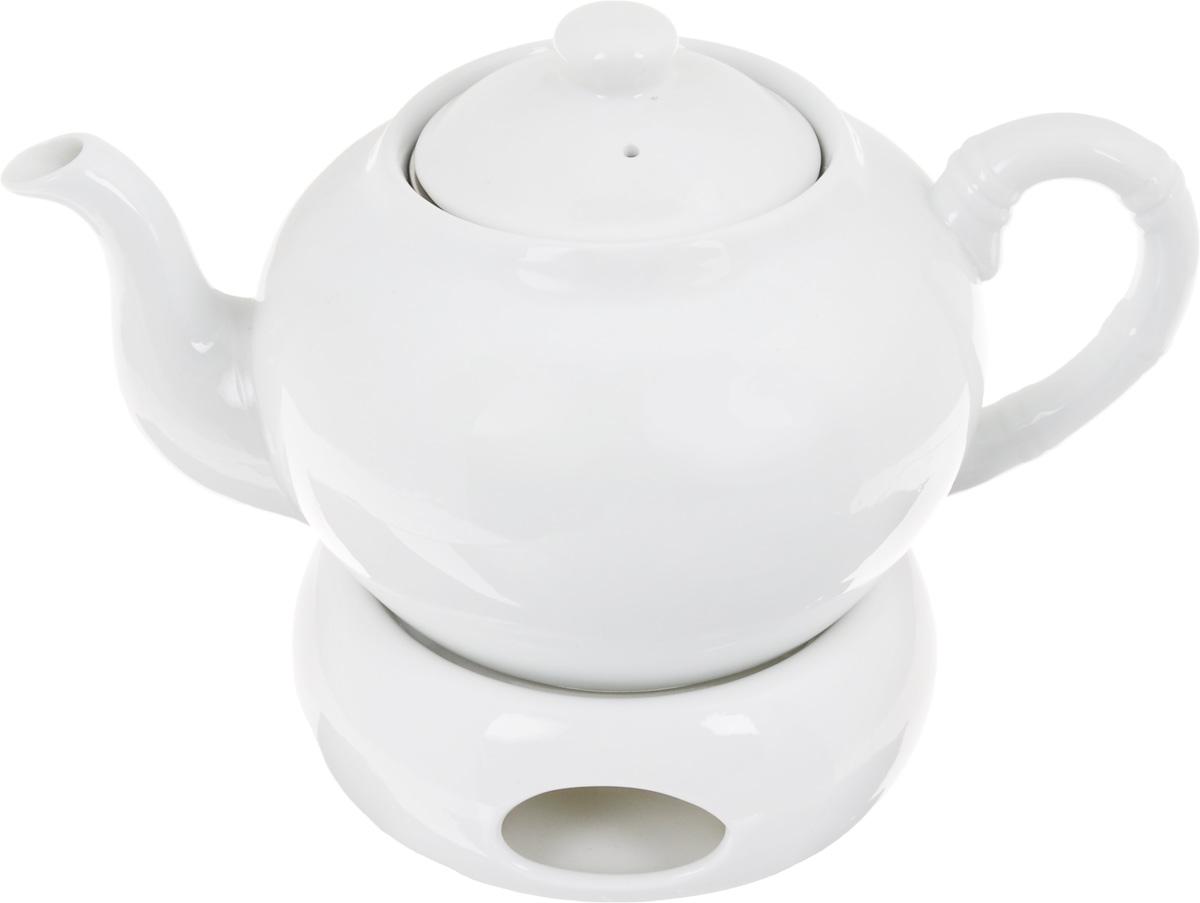 Чайник заварочный Patricia, с подставкой для подогрева, с фильтром, 1 лIM56-0001Заварочный чайник Patricia изготовлен из высококачественного фарфора с гладким глазурованным покрытием. Изделие выполнено в классическом стиле. Чайник снабжен съемным металлическим фильтром и удобной ручкой. В основании носика расположены фильтрующие отверстия от попадания чаинок в чашку. Благодаря специальной подставке для подогрева с помощью свечи (в комплект не входит), чайник долго остается горячим. Любой чай в таком изысканном чайнике станет для вас наслаждением, поводом отдохнуть и перевести дыхание. Он прекрасно украсит сервировку стола к чаепитию. Благодаря красивому утонченному дизайну, качеству исполнения и большому объему он станет хорошим подарком друзьям и близким. Не рекомендуется мыть в посудомоечной машине и использовать в микроволновой печи. Диаметр (по верхнему краю): 8,5 см. Внутренний диаметр: 6,5 см. Высота чайника (без учета крышки): 10 см. Высота фильтра: 5 см. Размер подставки для...