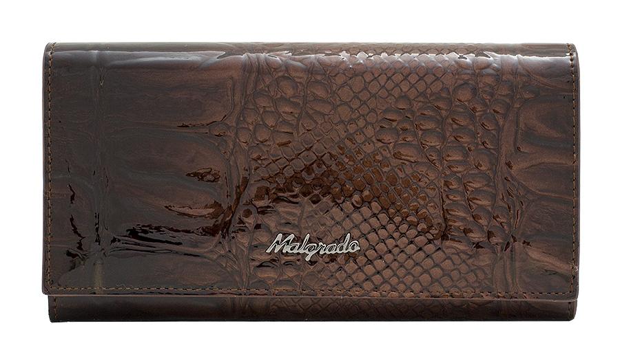 Кошелек женский Malgrado, цвет: коричневый. 64007-0440364007-04403# Brown Сред. Кошелек MalgradoСтильный женский кошелек Malgrado выполнен из натуральной лакированной кожи с тиснением под рептилию и оформлен металлической фурнитурой с символикой бренда. Изделие закрывается клапаном на кнопку и содержит одно основное отделение. Внутри расположены четыре отделения для купюр, одно из которых закрывается клапаном на кнопку, отделение для монет, закрывающееся на рамочный замок, два накладных кармана, четыре кармана для пластиковых карт, карман с прозрачной вставкой из пластика. Изделие поставляется в фирменной упаковке. Кошелек Malgrado станет отличным подарком для человека, ценящего качественные и практичные вещи.