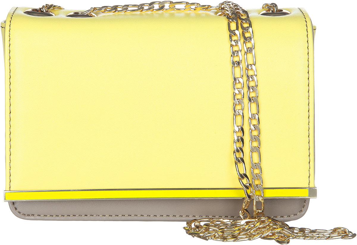 Сумка женская VelVet, цвет: желтый, серо-бежевый. 583-141286-231583-141286-231Стильная женская сумка VelVet выполнена из искусственной кожи. Изделие имеет одно основное отделение. Закрывается сумка на клапан с магнитной кнопкой. Клапан оформлен декоративным металлическим элементом. Внутри, на передней и задней стенках расположены карманы. Основное отделение содержит накладной открытый карман и прорезной карман на застежке-молнии. Снаружи, на задней стенке расположен накладной открытый карман. Изделие оснащено наплечным ремнем в виде цепочки. Роскошная сумка внесет элегантные нотки в ваш образ и подчеркнет ваше отменное чувство стиля.