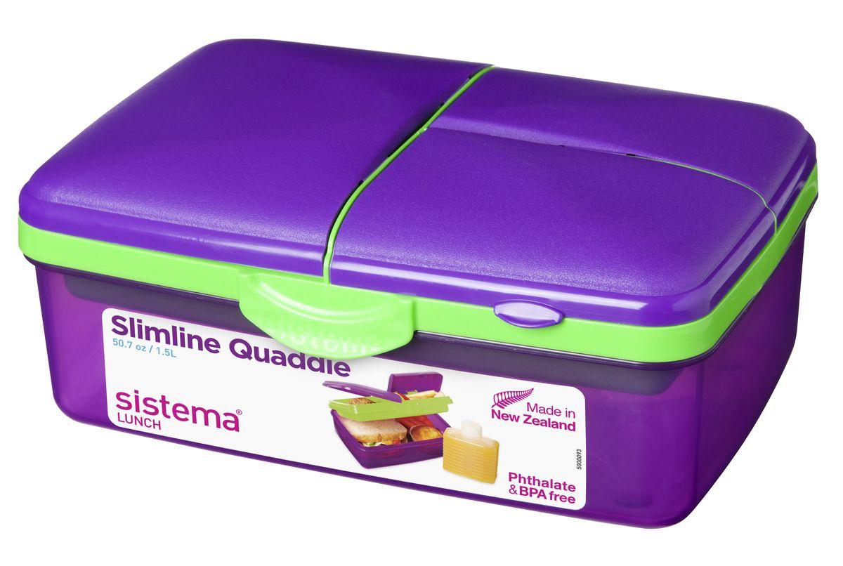 Ланчбокс 4-х секционный Sistema, с бутылкой, цвет: фиолетовый, 1,5 л3965_фиолетовыйКонтейнер Lunch имеет 4 отделения для хранения и транспортировки бутербродов, порционных салатов, мяса или рыбы, горячих и холодных блюд. Ланч-бокс для детей и взрослых позволяет взять даже сложный обед, из нескольких блюд, в одном компактном контейнере. На крышке имеется силиконовая прокладка, который способствует герметичному закрыванию. Контейнер надежно закрывается клипсами, которые при необходимости можно заменить. Можно мыть в посудомоечной машине.