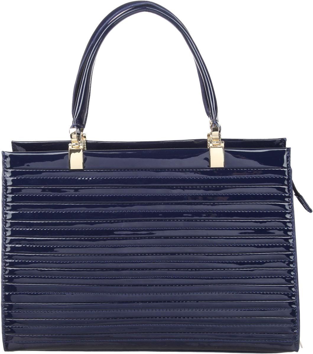 Сумка женская Calipso, цвет: синий. 420-161286-231420-161286-231Элегантная сумка Calipso изготовлена из искусственной кожи с лаковым покрытием и оформлена металлической фурнитурой. Сумка имеет одно вместительное отделение, закрывающееся на молнию. Внутри изделия расположены два накладных кармашка для мелочей, врезной карман на молнии, хлястик с кольцом для ключей и карман-средник на молнии. На задней стороне сумки расположен врезной карман на застежке-молнии. Сумка оснащена съемным плечевым ремнем регулируемой длины и двумя удобными ручками, которые дополнены металлической фурнитурой. На дне сумки расположены металлические ножки. В комплекте с изделием поставляется чехол для хранения. Модная сумка идеально подчеркнет ваш неповторимый стиль.