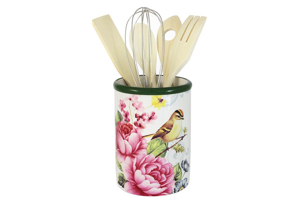 Банка-подставка для кухонных инструментов Infinity Цветы и птицыINFEX-C015A-FB-ALВсе изделия находятся в подарочной упаковке, что позволяет им стать хорошим подарком. Для изготовления посуды Infinity используется высококачественная доломитовая керамика, отличительной особенностью которой являются легкость и белизна. Яркие декоры на такой керамике выглядят особенно привлекательно. Не рекомендуется использовать посуду Infinity в микроволновых печах для приготовления блюд, поскольку эта керамика не выдерживает температур выше 150С. Мыть - в теплой воде с применением мягких моющих средств. Не стоит часто использовать посудомоечную машину, поскольку при постоянном мытье в ней рисунок может потерять свою яркость.