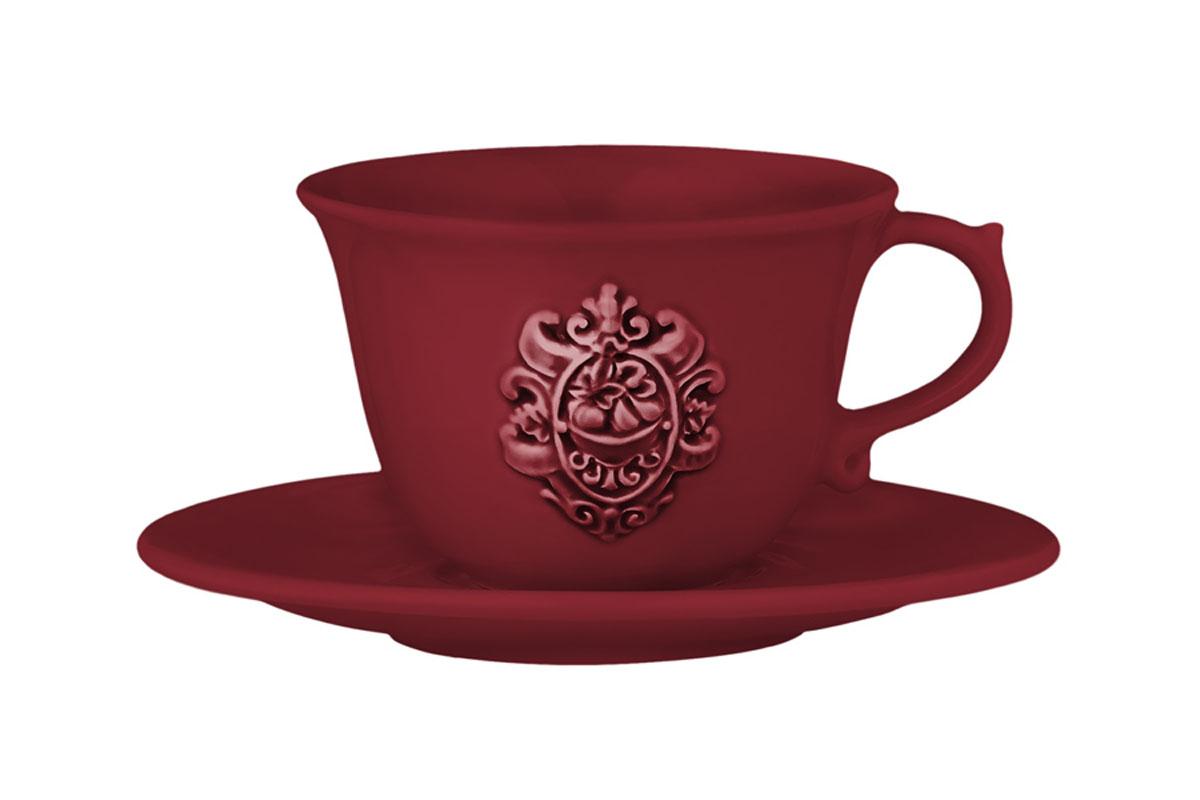 Чашка с блюдцем Nuova Cer Аральдо, цвет: бордовый