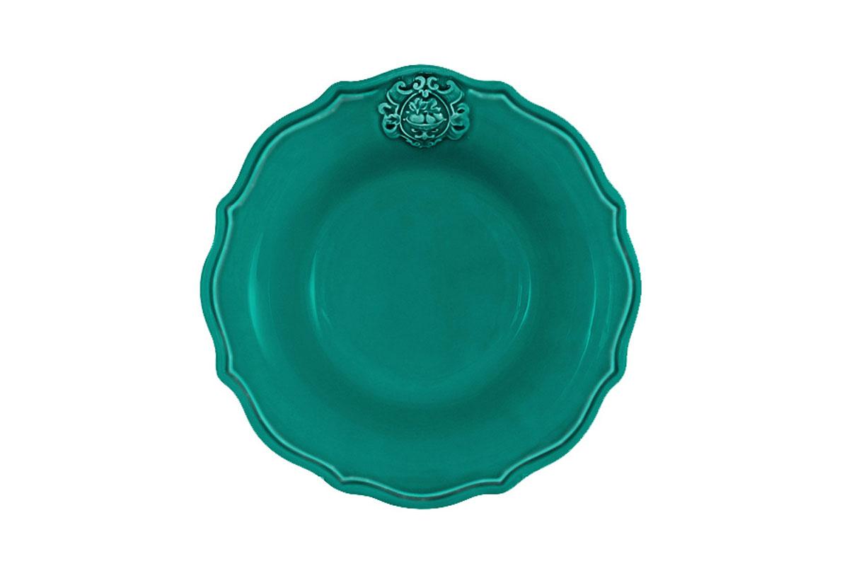 Тарелка суповая Nuova Cer Аральдо, цвет: бирюзовый