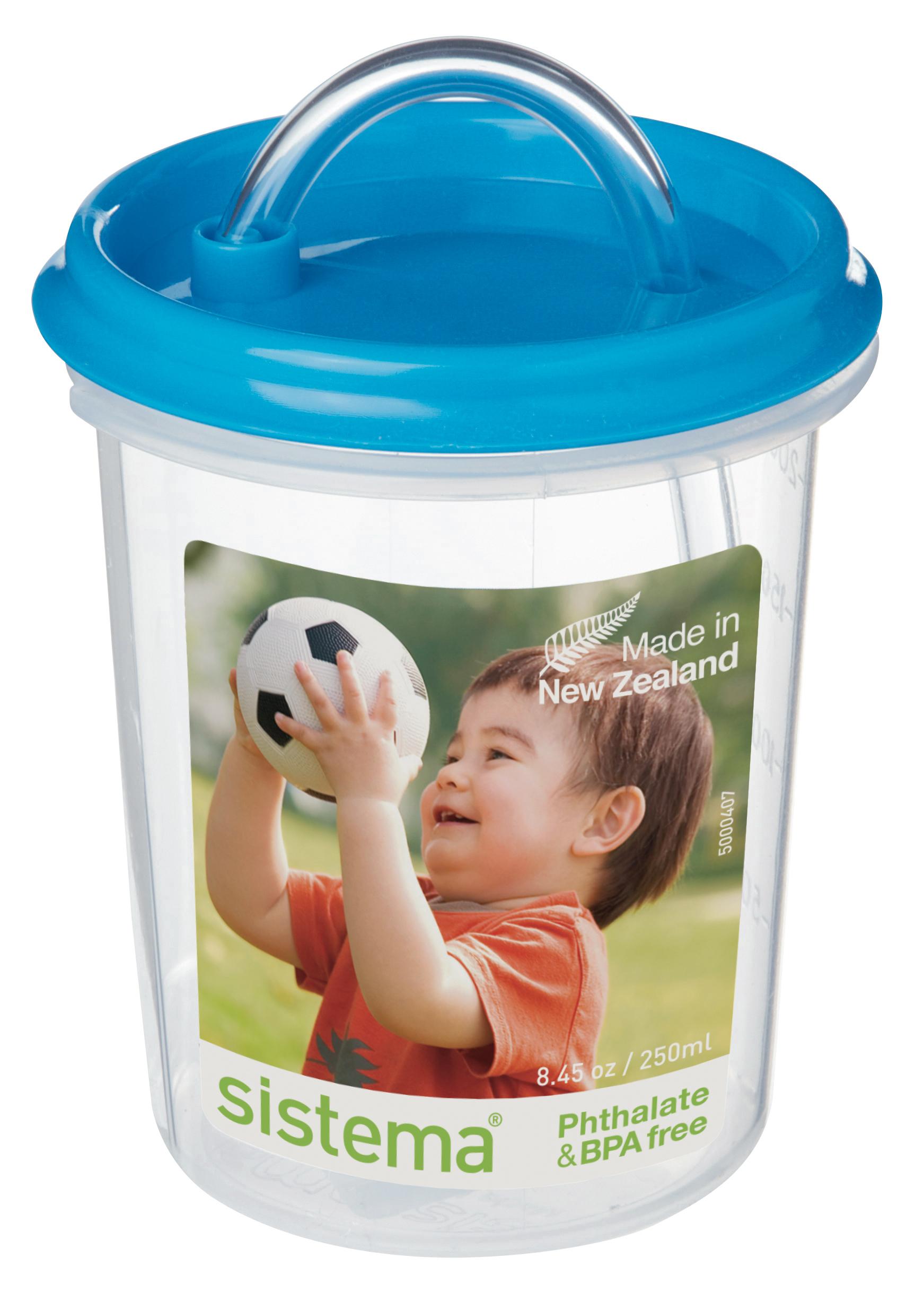 Чашка детская Sistema, с трубочкой, цвет: голубой, 250 мл40_голубой