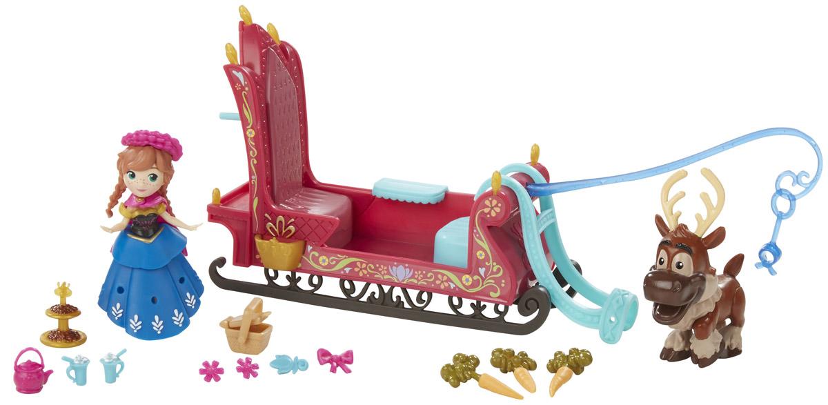 Disney Frozen Набор фигурок Frozen Sleigh RideB5194_B5196_Frozen Sleigh RideНабор фигурок Disney Princess Frozen Sleigh Ride - замечательное дополнение к играм на тему волшебного мира Принцесс Диснея. Фигурки принцессы Анны и оленя Свена выполнены из качественного пластика и хорошо проработаны. Небольшой размер оптимален: они подойдут для игры, могут стать просто фигуркой-украшением, а еще такие игрушки удобно коллекционировать. В комплекте также предусмотрены большие сани, корзинка, чайник, 2 кружки, этажерка, 3 морковки, бантик, 2 цветочка, шапочка. Игры с фигурками способствуют эмоциональному развитию, помогают формировать воображение, чувство ответственности и заботы. Великолепное качество исполнения делает эти игрушки чудесным подарком к любому празднику.