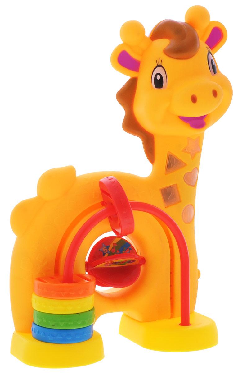 Умка Развивающая игрушка Музыкальный жираф2614-RРазвивающая игрушка Умка Музыкальный жираф поможет ребенку научиться считать, распознавать цвета и цифры, а также расскажет ему 5 стихотворений, написанных известным автором Самуилом Маршаком. Игрушка, выполненная в форме жирафа, обладает световыми и звуковыми эффектами. Посередине расположены разноцветные счеты, а также крутящийся барабан с цифрами. Игра с этим замечательным жирафом поможет развить у ребенка память, моторику, зрение, слух и координацию движений. Рекомендуется докупить 3 батарейки напряжением 1,5V типа ААА (товар комплектуется демонстрационными).