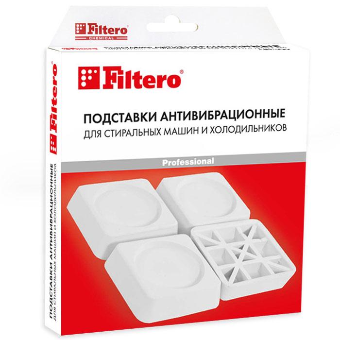 Filtero Подставка антивибрационная для стиральных машин и холодильников909Антивибрационные подставки Filtero предназначены для отдельно стоящих стиральных машин и холодильников. Используются для поглощения вибрации при установке бытовой техники на керамическую плитку, деревянные полы и другие виды покрытий. Защищает напольное покрытие от вмятин и разрывов. Высота амортизирующего слоя и специальный полимерный материал предотвращают скольжение стиральных машин в режиме отжима, а также существенно сокращают возможные вибрацию и шумы. Способ применения: Отрегулируйте горизонтальное положение стиральной машины или холодильника. Подложите подставки Filtero под все ножки прибора. Очередность установки подставок не имеет значения. Убедитесь, что прибор устойчиво опирается на все ножки.