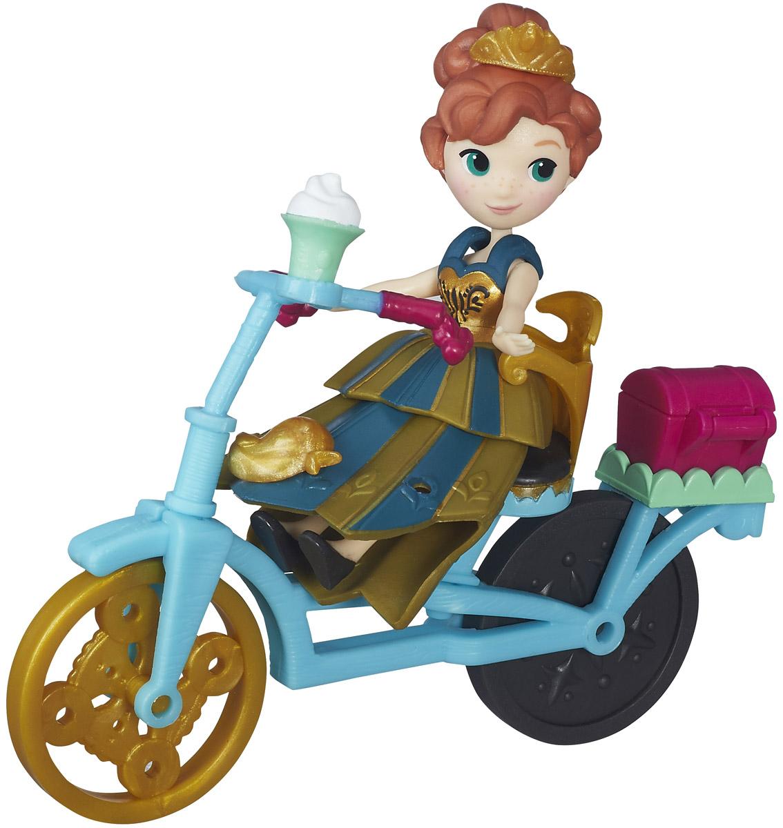Disney Frozen Мини-кукла Анна и велосипедB5188EU4_5190Мини-кукла Disney Frozen Анна и велосипед непременно понравится вашей дочурке! Анна - чрезвычайно преданная, решительная и отважная девушка. Мини-кукла Анна как всегда очаровательна в своем платье для дня коронации со съемным корсетом, юбкой и баской. В комплект входит велосипед, на котором она балансирует в мультфильме! Вашей маленькой мечтательнице понравится создавать наряды Анне и дополнять ее внешний вид украшениями из набора. Девочки смогут украшать свою героиню другими аксессуарами и нарядами (продаются отдельно). Порадуйте свою малышку таким замечательным подарком!