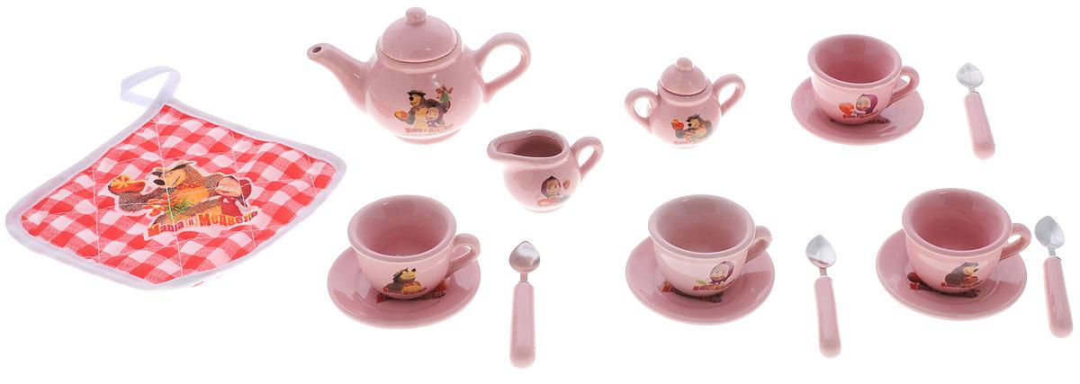 Играем вместе Игровой набор посуды Маша и Медведь 18 предметовCH1009-RИгровой набор посуды Играем вместе Маша и Медведь - отличный подарок для вашей маленькой хозяюшки, которой так хочется быть самостоятельной! Набор посуды поможет вашей малышке научиться накрывать на стол. В комплект набора входят чашечки, блюдца, чайник, прихватка и другие предметы. Элементы набора изготовлены из керамики и упакованы в яркий чемоданчик, оформленный изображением героев мультфильма Маша и Медведь. С таким набором все куколки вашей малышки будут сытыми.