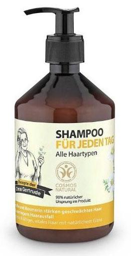 Рецепты бабушки Гертруды Шампунь для волос для ежедневного применения, 500 мл074-4824В состав шампуня входят природные компоненты благодаря чему он мягко очищает и ухаживает за волосами, придавая им естественное сияние и силу. Розмарин богат витаминами А, С и В, незаменимыми жирными кислотами и эфирными маслами, которые питают волосы. Ромашка содержит каротин, флавонаиды и органические кислоты, она оказывает успокаивающее и антисептическое действие на кожу головы и корни волос. Особенности состава: 98% ингредиентов натурального происхождения, Пшеница и клюква защищают волосы, придают им эластичность и объем. Результат: волосы приобретают естественное, здоровое сияние, становятся заметно сильнее.