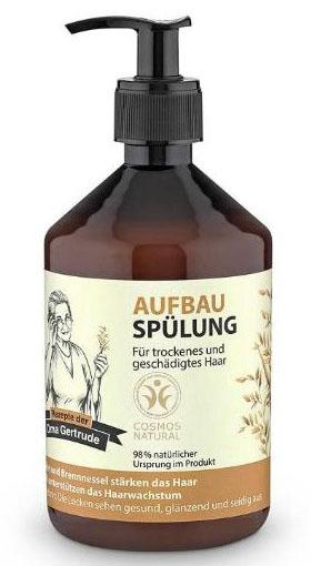 Рецепты бабушки Гертруды Бальзам для волос восстанавливающий, 500 мл074-4886Кондиционер ухаживает за сухими и поврежденными волосами, способствует восстановлению их структуры, возвращая здоровье и блеск, значительно облегчая процесс расчесывания. Органический экстракт овса содержит необходимые витамины и аминокислоты, которые способствуют интенсивному увлажнению и укреплению волос, делая их более гладкими и сияющими. Органический экстракт крапивы содержит витамины, органические кислоты, которые способствуют улучшению структуры волос и ускорению их роста. Особенности состава: 98% ингредиентов натурального происхождения, Овес и крапива хорошо подходят для укрепления волос, усиления их роста. Результат: локоны выглядят здоровыми, блестящими и шелковистыми.