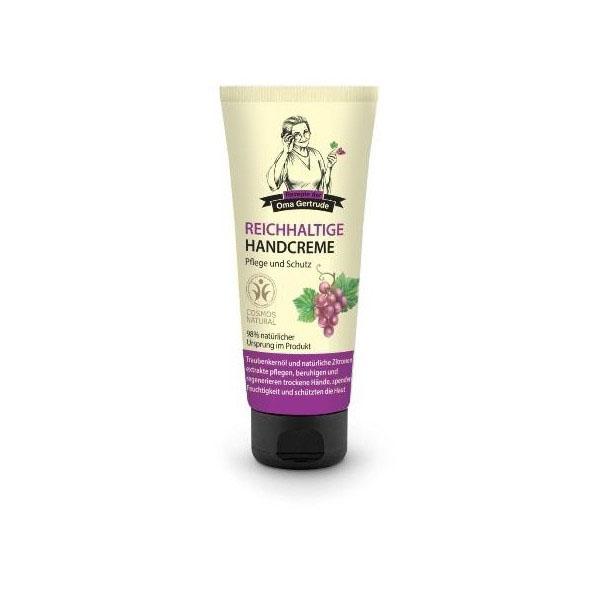 Рецепты бабушки Гертруды Крем для рук питательный, 75 мл074-4909В состав питательного крема для рук входят природные компоненты, которые восстанавливают и защищают кожу от пересыхания и воздействия внешних факторов. Органическое масло винограда - источник мощных антиоксидантов, натурального хлорофилла, растительного белка, витаминов А, В, Е, F, PP, дубильных веществ, микро и макроэлементов, оно отлично питает и защищает кожу рук от сухости и раздражения. Органический экстракт лимона обогащает кожу витамином С, разглаживает и смягчает её, делая более мягкой и бархатистой. Особенности состава: 98% ингредиентов натурального происхождения Результат: Виноград и лимон увлажняют, успокаивают чувствительную кожу, питают и восстанавливают огрубевшие участки кожи.