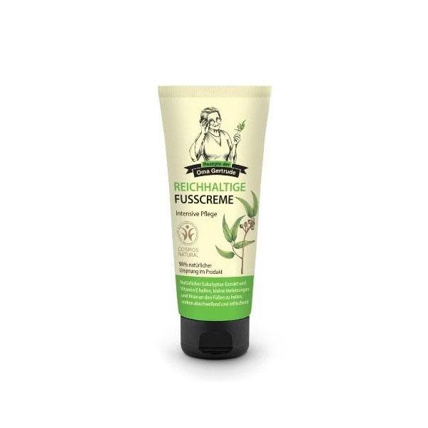 Рецепты бабушки Гертруды Крем для ног интенсивный, 75 мл074-4930В состав интенсивного крема для ног входят природные компоненты, которые питают и защищают кожу стоп от сухости, даря ощущение нежности и комфорта. Органический экстракт эвкалипта оказывает бактерицидное и противовоспалительное действие. Токоферол увлажняет и смягчает кожу, способствует заживлению мелких трещин и уменьшению отеков. Особенности состава: 98% ингредиентов натурального происхождения Результат: Эвкалипт и токоферол способствуют заживлению мелких трещин и снятию отеков.
