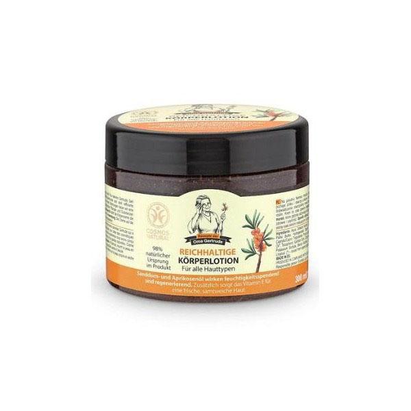 Рецепты бабушки Гертруды Крем для тела восстановление и питание, 300 мл074-5005В состав крема для тела входят природные компоненты, которые глубоко питают кожу, делая ее более гладкой и нежной. Органическое масло абрикоса содержит витамины А, Е, благодаря чему оно насыщает кожу влагой и питательными веществами, повышает упругость и эластичность. Органическое масло облепихи - неиссякаемый источник витаминов, незаменимых аминокислот, а также жирных кислот омега 3,6,9 и редкой омега 7, оно обладает мощным восстанавливающим и витаминизирующим действием, дарит коже здоровье и красоту. Особенности состава: 98% ингредиентов натурального происхождения Результат: Облепиха и абрикос улучшают состояние кожи, оказывая смягчающее и восстанавливающее действия. Благодаря наличию витамина Е, насыщают кожу влагой и кислородом, делая ее бархатной и упругой.