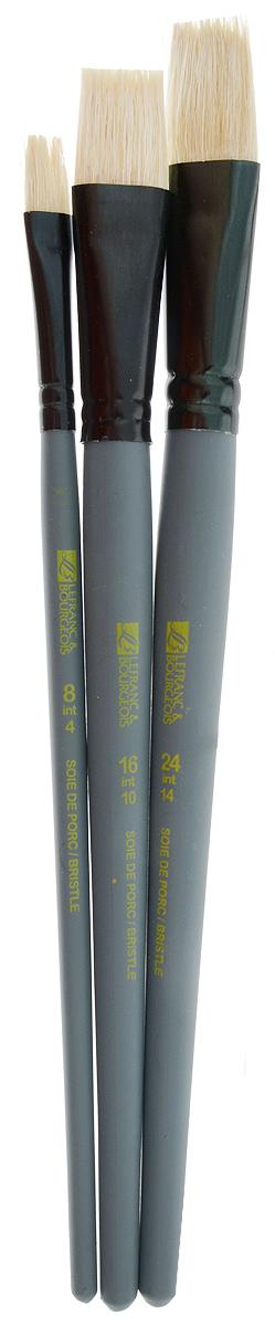 Набор кистей LeFranc Louvre, 3 шт. LF806753LF806753Кисти из набора LeFranc Louvre идеально подойдут для работы с акриловыми красками и прочими искусственными эмульсиями, а так же с темперой, гуашью, акварелью и масляными красками. В набор входят кисти Flat № 8, 16 и 24. Кисти изготовлены из щетины. Конусообразная форма пучка позволяет прорисовывать мелкие детали и выполнять заливку фона. Пластиковые ручки оснащены алюминиевыми втулками с двойным обжимом. Длина кистей: Flat № 8 - 21 см; № 16 - 22,5 см; № 24 - 23 см. Длина ворса: Flat № 8 - 1,9 см, № 16 - 2,1 см, № 24 - 2,3 см.
