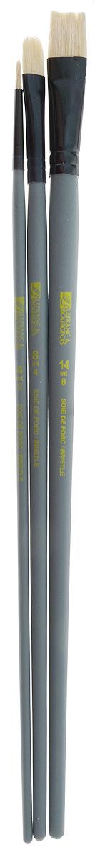 Набор кистей LeFranc Louvre, 3 шт. LF806737LF806737Кисти из набора LeFranc Louvre идеально подойдут для работы с акриловыми красками и прочими искусственными эмульсиями, а так же с темперой, гуашью, акварелью и масляными красками. В набор входят кисти Round № 4, Flat № 14 и Filbert № 8. Кисти изготовлены из щетины. Конусообразная форма пучка позволяет прорисовывать мелкие детали и выполнять заливку фона. Пластиковые ручки оснащены алюминиевыми втулками с двойным обжимом. Длина кистей: Round № 4 - 28 см; Flat № 14 - 29,5 см; Filbert № 8 - 28,5 см. Длина ворса: Round № 4 - 1 см; Flat № 14 - 1,6 см; Filbert № 8- 1,8 см.