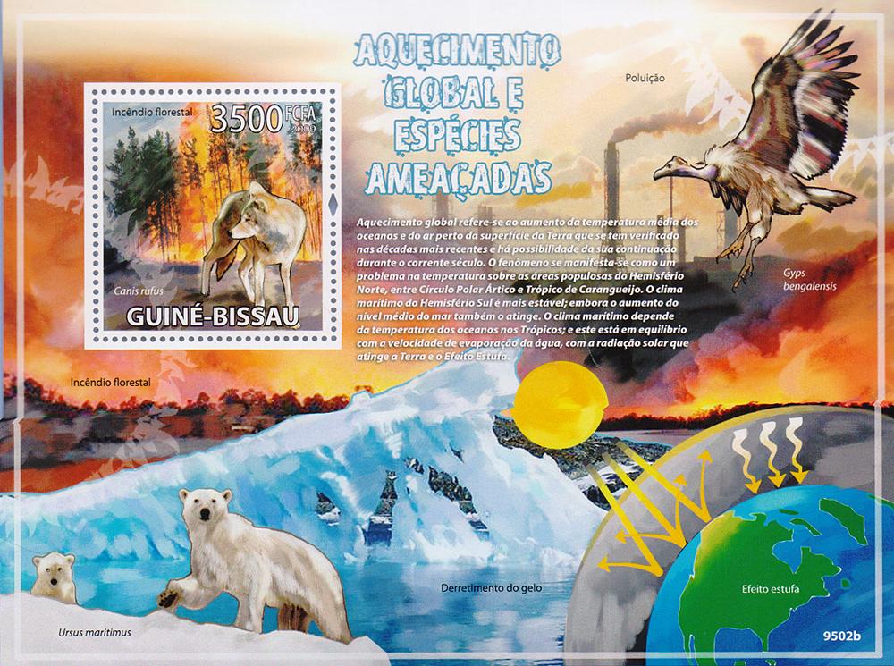 Почтовый блок Глобальное потепление и исчезающие виды. Гвинея-Бисау, 2009 год791504Почтовый блок Глобальное потепление и исчезающие виды. Гвинея-Бисау, 2009 год. Размер блока: 14.2 х 10.5 см. Размер марки: 3.8 х 4 см. Сохранность хорошая.