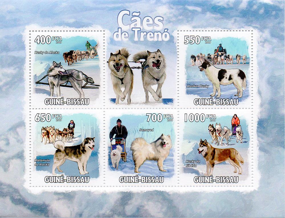 Малый лист Ездовые собаки. Гвинея-Бисау, 2009 год791504Малый лист Ездовые собаки. Гвинея-Бисау, 2009 год. Размер блока: 14.5 х 11 см. Размер марок: 3.7 х 4 см. Сохранность хорошая.