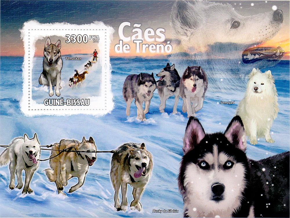 Почтовый блок Ездовые собаки. Гвинея-Бисау, 2009 год791504Почтовый блок Ездовые собаки. Гвинея-Бисау, 2009 год. Размер блока: 14.2 х 10.5 см. Размер марки: 3.8 х 4 см. Сохранность хорошая.
