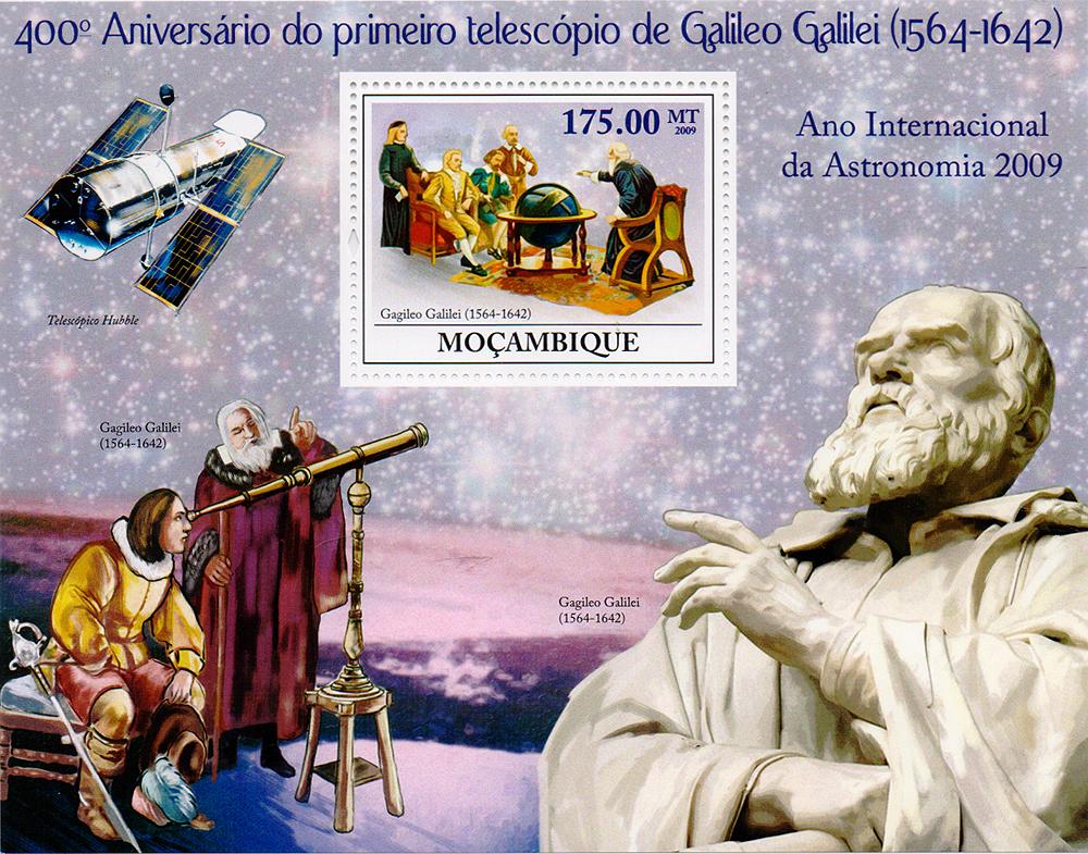 Почтовый блок Первый телескоп Галилео Галилея. 400 лет. Мозамбик, 2009 год791504Почтовый блок Первый телескоп Галилео Галилея. 400 лет. Мозамбик, 2009 год. Размер блока: 11.5 х 14.5 см. Размер марки: 4.3 х 5.3 см. Сохранность хорошая.