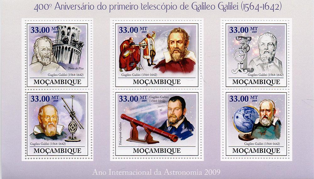 Малый лист Первый телескоп Галилео Галилея. 400 лет. Мозамбик, 2009 год791504Малый лист Первый телескоп Галилео Галилея. 400 лет. Мозамбик, 2009 год. Размер листа: 10.5 х 17.5 см. Размер марок: 4 х 5 см и 4 х 3.7 см. Сохранность хорошая.